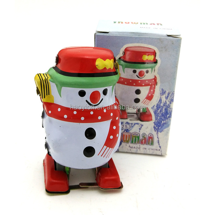 Wholesale Kids Vintage Tin Snowman Toy Wind Up Key Clockwork Mechanical Collectable Gifts