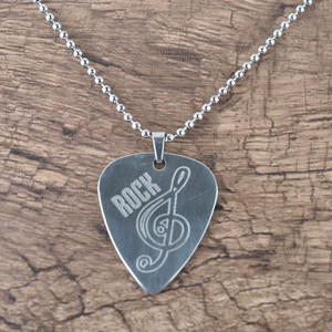 Mental Personalized Custom Logo Unique Guitar Pick Stainless Steel Pendant Necklace
