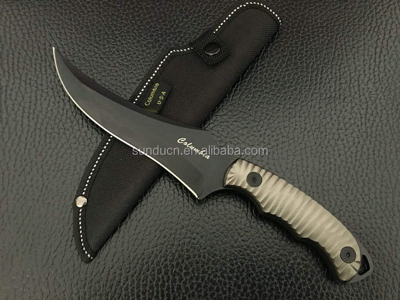 5Cr13MoV Steel Blade Aluminum Handle Black Finish Camp Knife Fixed Blade with Nylon Sheath
