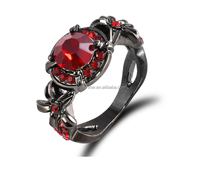 Fashion Punk and Gothic Real Zircon Ruby Stone Ring Red Finger Ring