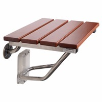 Teak Wood Wall Mounted Folding Shower Seat For Disabled