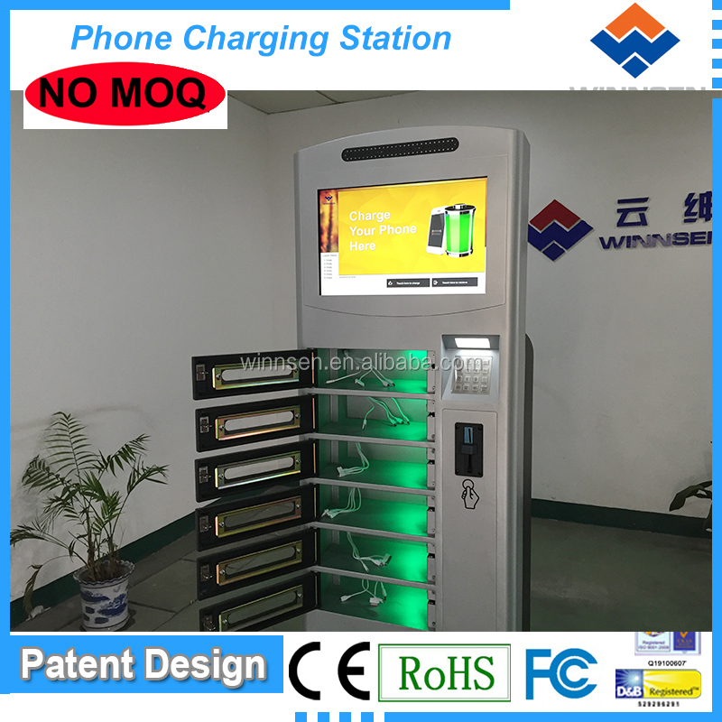 APC-06B Factory Price High End cellphone charge station/airport charging station 6 digital lockers