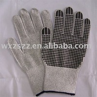 PVC cheap latex glove with Dotted of Cut Resistant-grey color