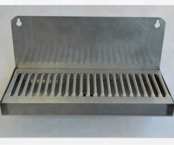 "Wall Mount Draft Beer Stainless Steel Drip Tray size 6 ""long; with 2"" splash backplane; Cutout beer keg equipment New drip tray"