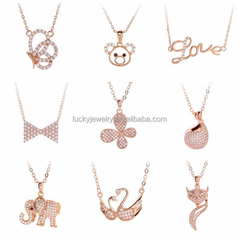 wedding party jewelry rose gold plated AAA zircon pave copper alloy swan pendant necklace women for wholesale