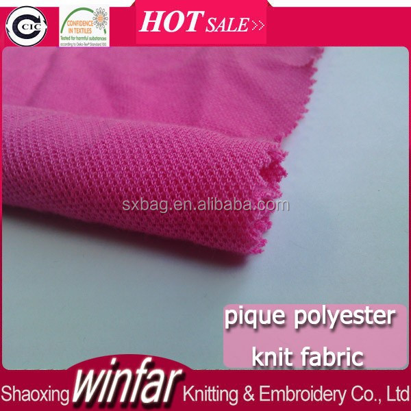 Winfar hot sale solid knit T-shirt fabric 100 polyester pique/PK fabric