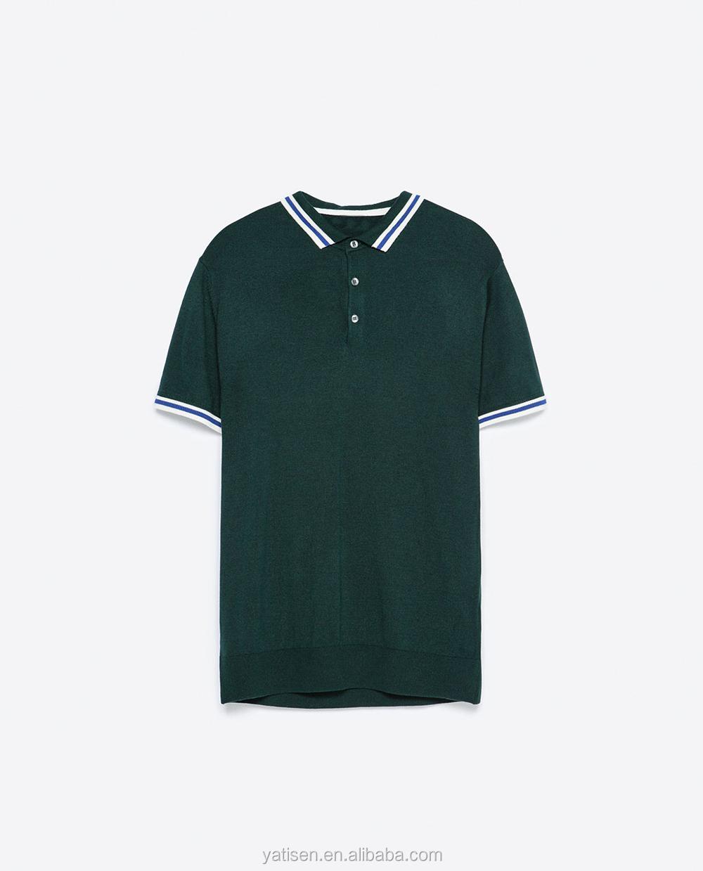 8e5ac5cb7 Atacado Contrasting piping polo camisas com três botões de fixação cor lisa polo  verde escuro