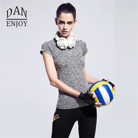 2017 Custom Design Quick Dry Breathable Exercises Short Sleeve Tops Women Yoga Sports T Shirt