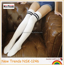 White color cotton vertical stripes pattern with two cross strips top knee high socks stockings