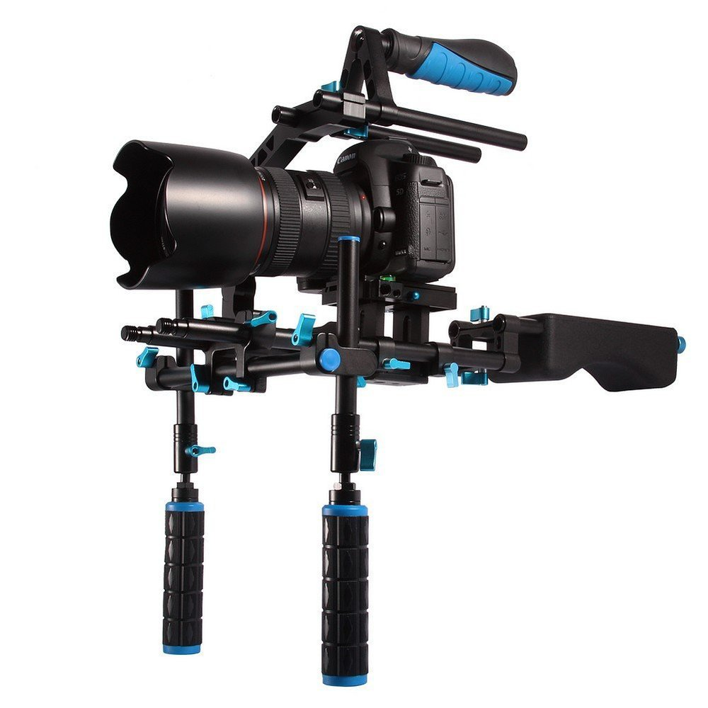 DSLR Stabilizing Shoulder Pad Support Mount Rig with Dual Hand Grip / Top Handle / C Shape Support Cage 15mm Rod Rail