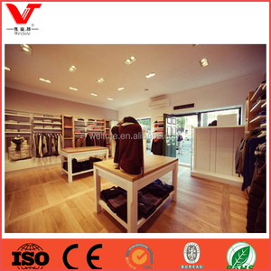 Customized hot sale clothes store wood display shelf