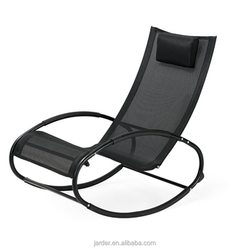 wholesale retailer modern outdoor garden leisure knock down steel PVC mesh rocking chair