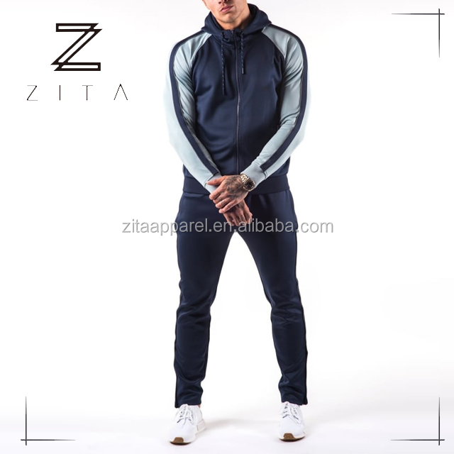 New Design Mens Plain Tracksuits Slim Fitted Running Jogger Wear Training Tracksuits
