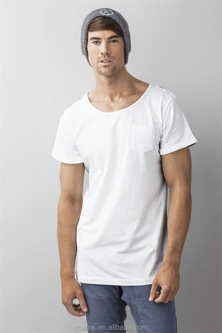 Scoop Neck T Shirt With Pocket Mens White Sports T Shirts
