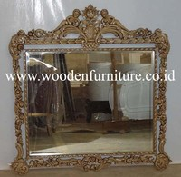 Antique Mirror Classic Solid Mahogany Frame Wood Silver Painted ...