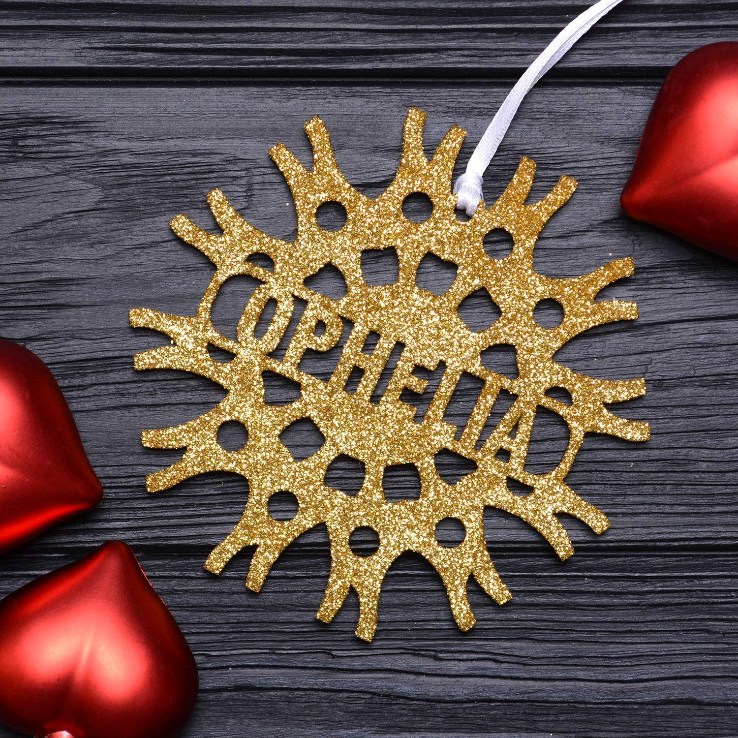 Christmas Personalized Snowflake/Gold Glittered Ornaments, Custom Wooden Snowflakes, Christmas Decorations Handmade, Christmas Gifts