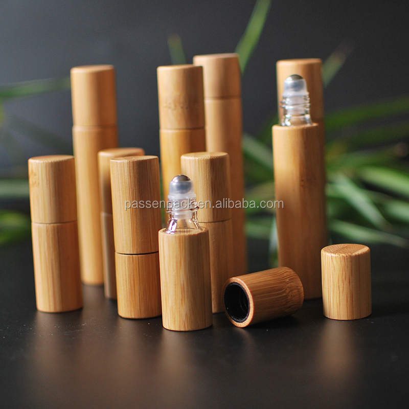 bamboo essential oil bottle inner glass outer bamboo for eyes care cosmetic