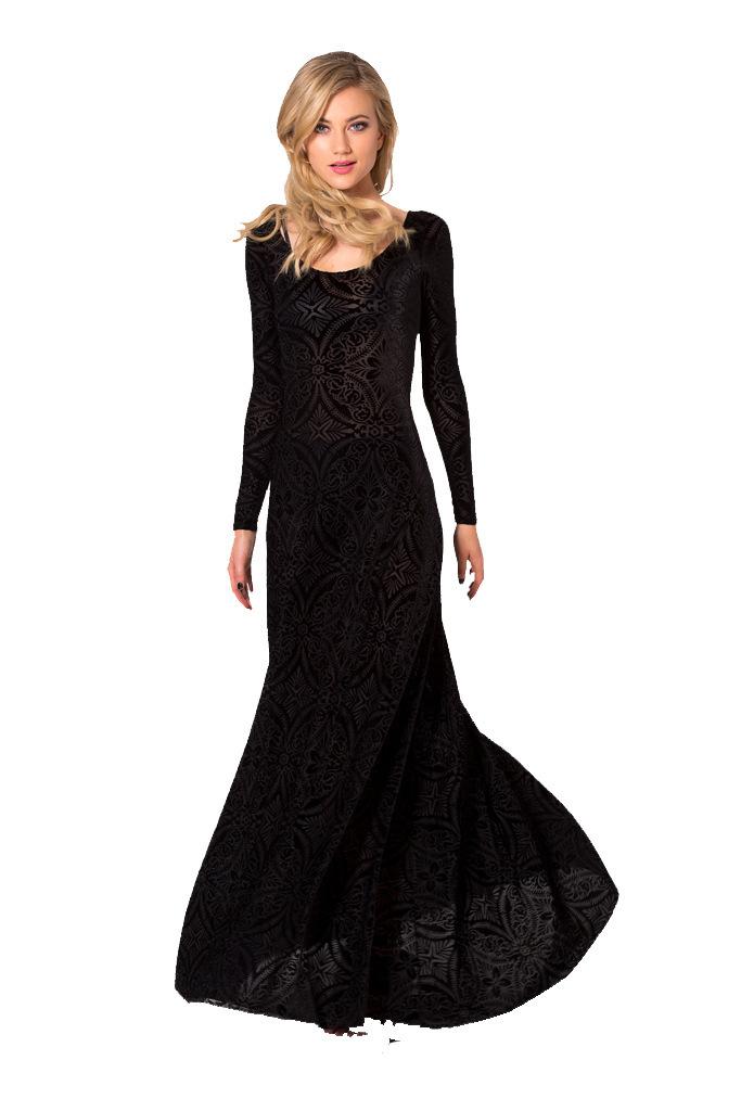 Black Velvet Floor Length Dress