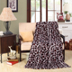 Cheap wholesale sofa & travel light weight leopard grain printed flannel blanket