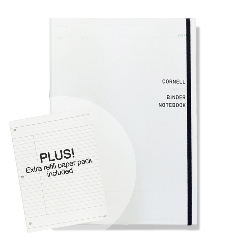'CORNELL' Hard Cover 3 Ring Binder Notebook Pack with 60 Sheets College Ruled Filler Paper and 30 Sheets Binder Refill Papers Pack Included, 8.46 in. X 11.5 in (Ivory)