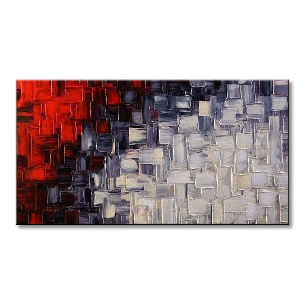"""Seekland Hand Painted Acrylic Artwork Red and White Abstract Canvas Wall Art Modern Contemporary Oil Painting for Living Room Stretched and Ready to Hang (Framed 40"""" W x 20"""" H)"""