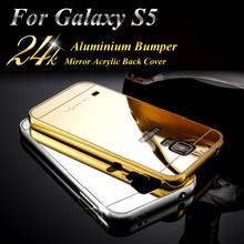 For Samsung Galaxy S5 case Bumper Luxury Aluminum Metal Frame Mirror Acrylic Back Cover Case For Samsung Galaxy S5 case i9600