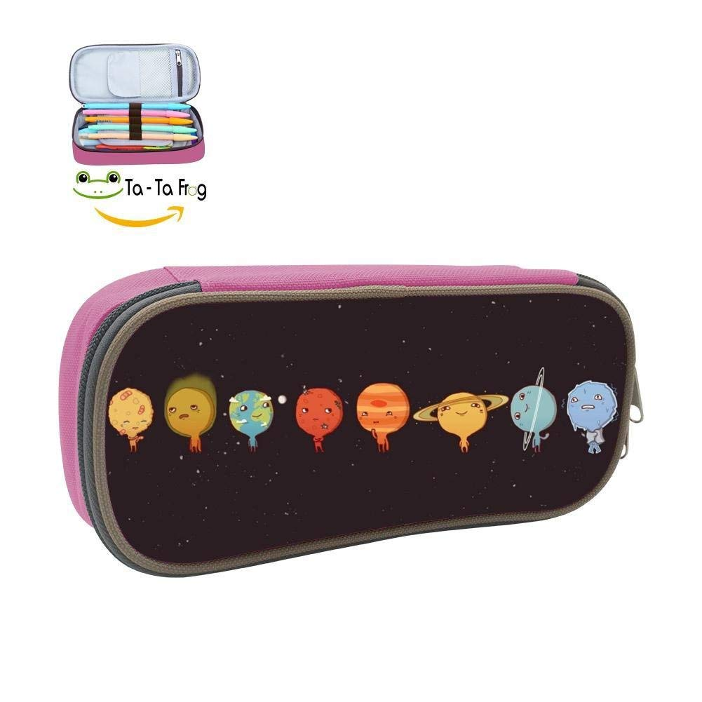 Pencil Case Universe Planet Outer Space 3D Printed School Pen Bag Big Capacity Double Zipper Durable Students Stationery Multipurpose Makeup Pouch Buggy Bag for Girls Pink