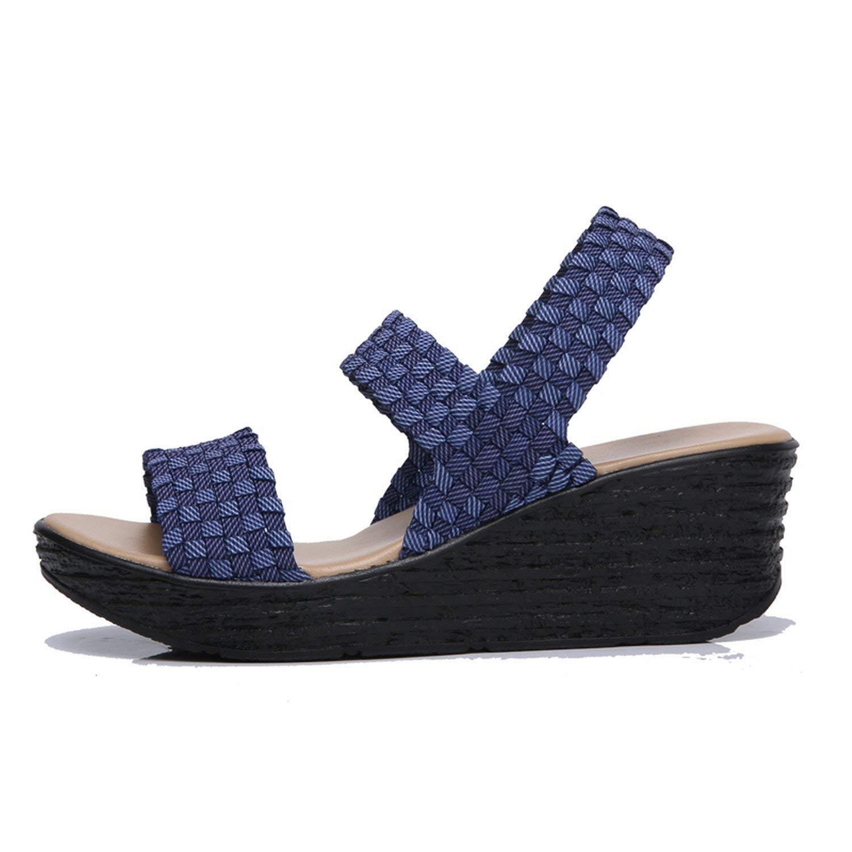282cbea7810f7 Get Quotations · Feilongzaitianba Summer Women Sandals Shoes Women Woven  Flat Wedge Platform Sandals Flip Flops Thick Sole High