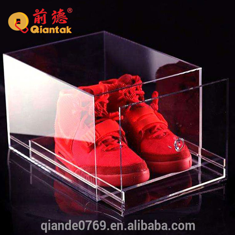 Cheap custom printed acrylic clear shoe boxes for display and storage