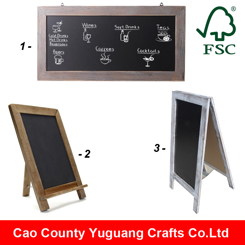 Freestanding Country Rustic Wooden Message Memo Blackboard / A Frame Sturdy Antique Wooden Chalkboard