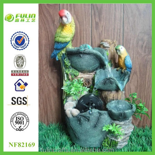 Parrot Design Polyresin Animal Water Fountain