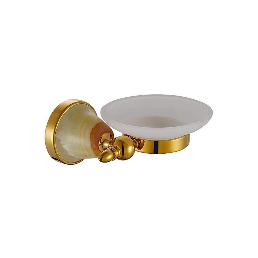 LAONA European copper base titanium gold jade bathroom accessories set soap box toilet paper holder toothbrush cup holder,Soap dish