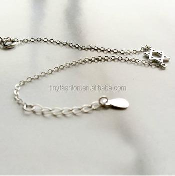 Star Of David Bracelet Sideways Tiny Jewish Silver Thin Chain Minimalist Israel