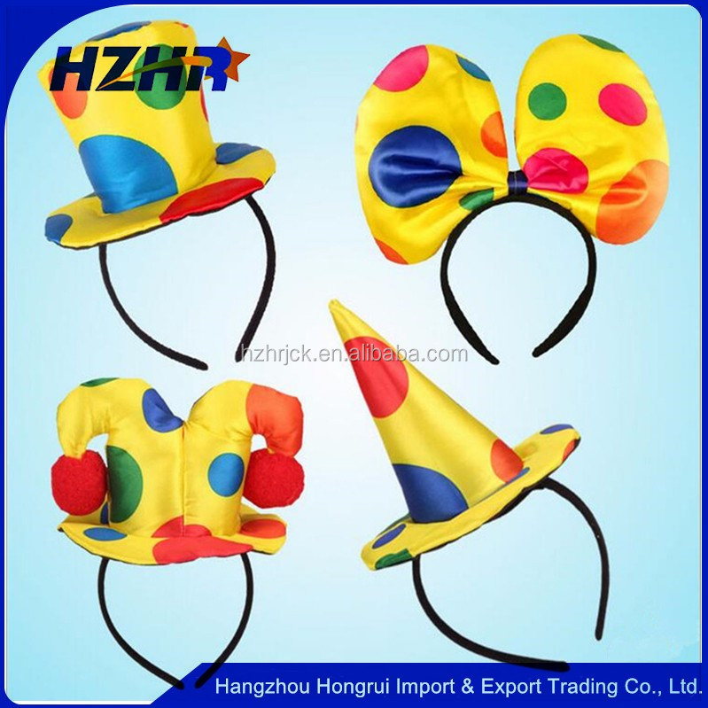 2017 New Girl Boy Woman Funny Polka Dot Clown Top Hat Headband Circus Magician Dance Party Hair Accessories Halloween Supplies