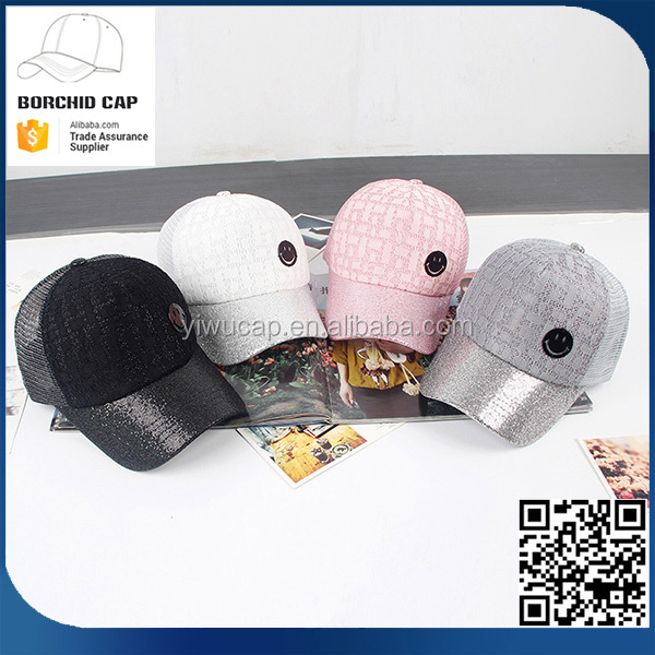 beautiful new style sunshade female fashion cheap smiling face logo bling bling sequin lace baseball cap with half mesh