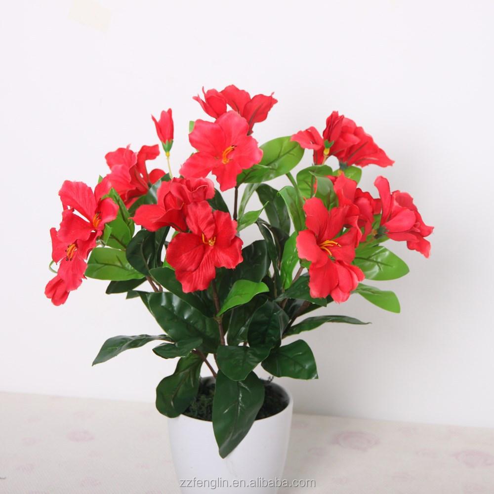 Red Azalea Plastic Flower Bouquet Cheap Wholesale Artificial Flower