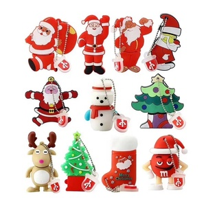 100% real capacity Christmas Gift USB Flash Drive 64G Cartoon Santa Claus USB Drive USB 2.0 Flash Memory PenDrive