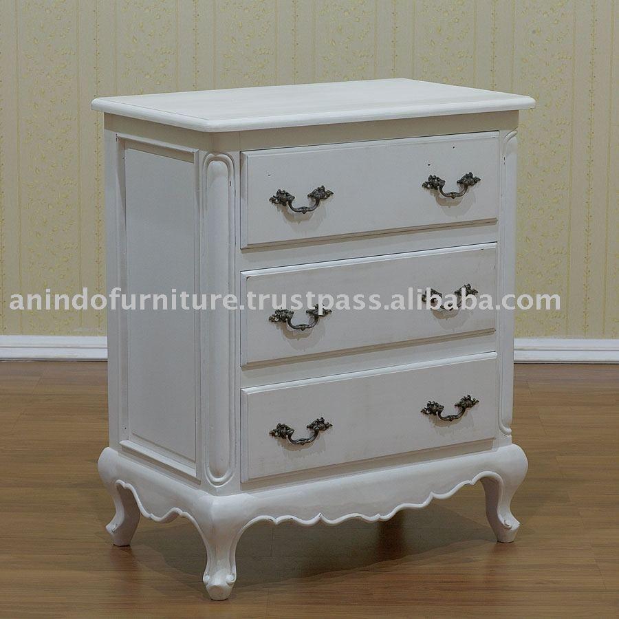 Muebles Pintados De Blanco Colonial Noche 3 Cajones - Buy Product on ...