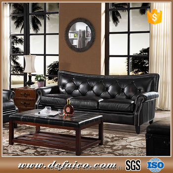 French Style Fancy Black Leather Sofa Living Room Furniture