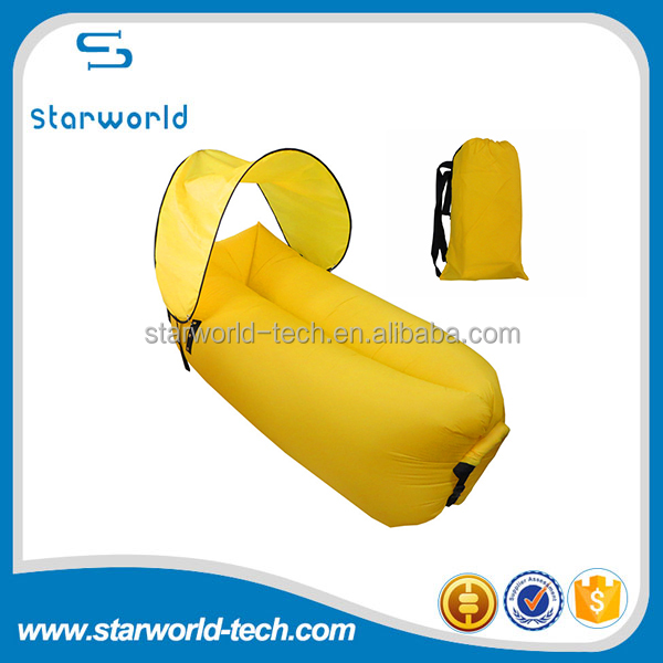 Outdoor sun shade inflatable lounger lay bag leisure air filled sleeping lay bag sofa bed