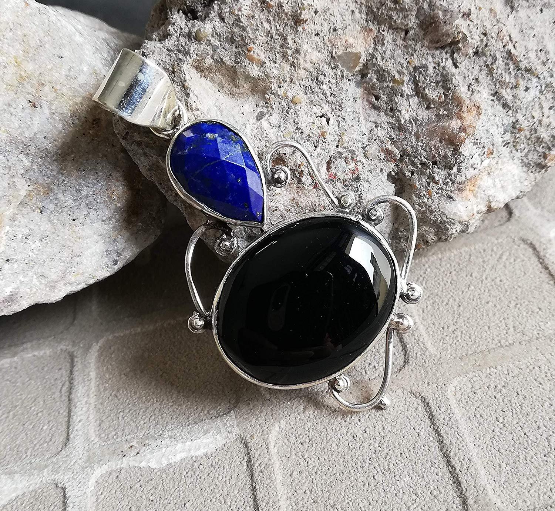 Black Onyx & Lapis Lazuli Pendant, 925 Sterling Silver, Long Pendant, Exquisite pendant, Original Handmade, Extraordinary Pendant, Promise Pendant, Delicate Pendant, One Of A Kind, Ocean Charm Pendant