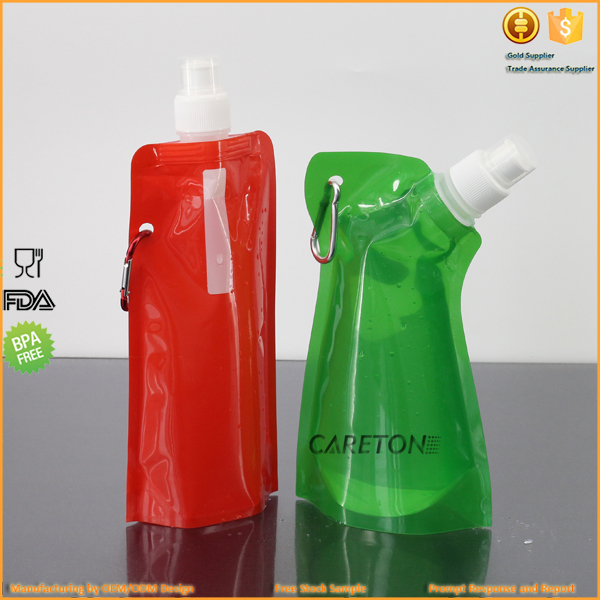 2017 Wholesale Promotional Collapsible Water Bottle Foldable Water Bottle with Carabiner