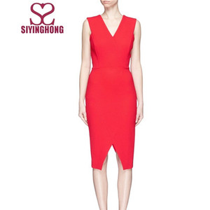 V-neck crepe red dress for ladies wholesale price Dongguan manufacture