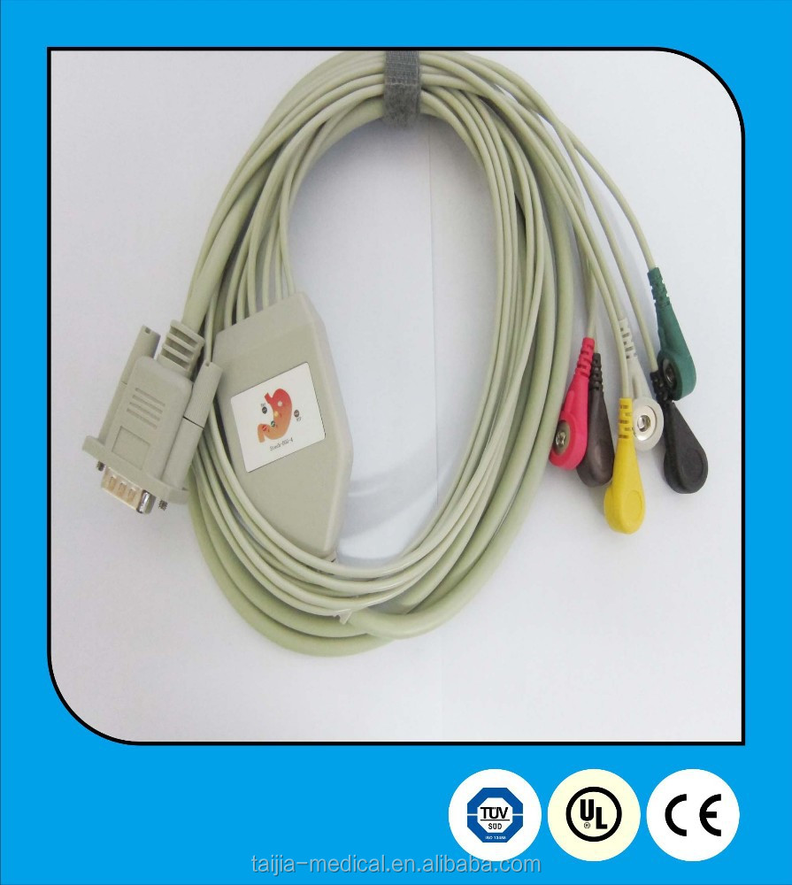 replacement latex-free One-piece stomach hospital ECG Cable and 6 leadwires