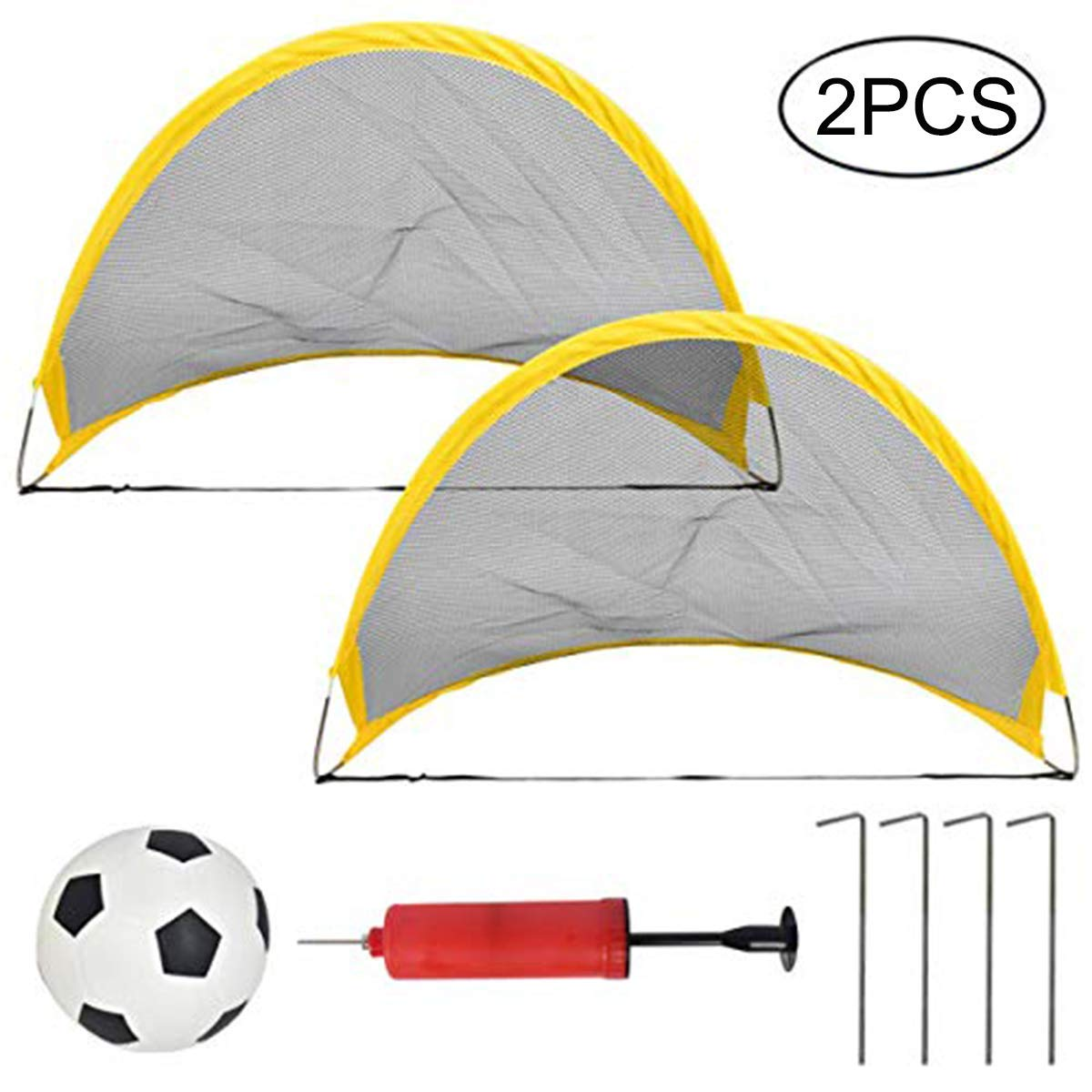 Firlar Portable Mini Soccer Goals, Set of 2 Football Goals Post Ball Net with Soccer Ball and Ball Pump Kit for Kids Children Toddler, Perfect for Outdoor and Indoor