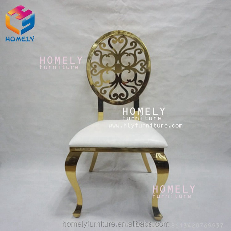 gold/silver wedding stainless steel white pu leather banquet dinner chair with crystal button