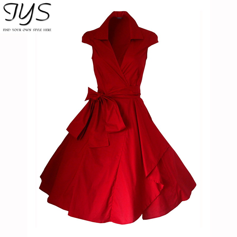 ba469775157 2015 summer style Red Rockabilly Evening Retro Vintage Prom Swing Dress  Casual Party Sexy Midi Dresses 4 Colors S-XXL plus size
