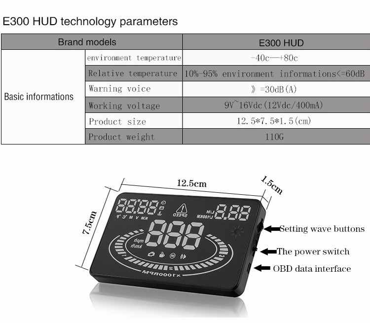 Tire Size Meaning >> E300 Car Hud Tractor Car Accessories Head Up Display For 2016 New Year Obd 2 Speed Warning ...