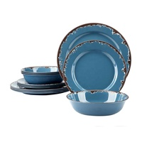 New products OEM cheap unique restaurant dinnerware dinner table set 12 PCS Melamine Camping Dinnerware Set