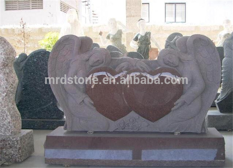 Granite customized heart tombstone white carving angel gravestones